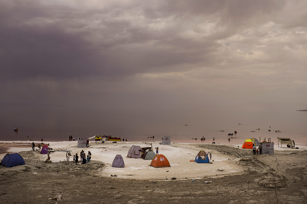 Camp on the remaining of Urmia Lake